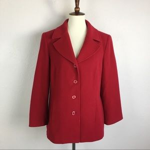Tribal Wool and Cashmere Blend Red Peacoat